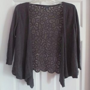 American Eagle Outfitters Open Grey Lace Sweater